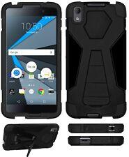Amzer de doble capa híbrida duro armadura soporte funda para BlackBerry DTEK 50-Negro