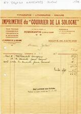 Dépt 41- Romorantin 13 Rue du Tripot - Imprimerie du Courrier de la Sologne 1929