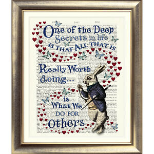 Dictionary Page Art Print ALICE IN WONDERLAND QUOTE Vintage ANTIQUE Book Picture