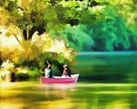 """perfect 36x24 oil painting handpainted on canvas""""Boating""""@N2279"""