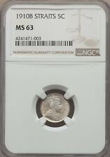 1910 B Straits Settlements 5 Cents, NGC MS 63, Malaysia