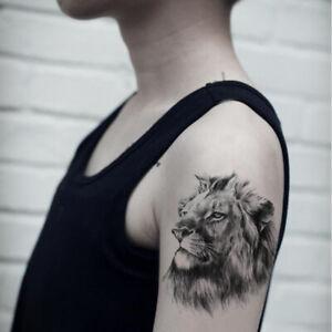 Sanerlian Lion Temporary Tattoo Sticker Waterproof Men Boys Back Shoulder Big 1
