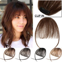 Clip In Real Remy Human Hair Extensions Thin Air Bang Fringe Hairpiece