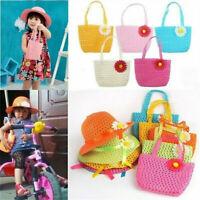 Newly Summer Sun Hat Girls Kids Straw Cap Beach Hats Flower Decor+Handbag Kits