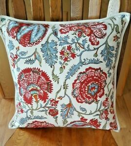 POTTERY BARN BOTANICAL RED WHITE FLORAL PILLOW 22x22 COTTON PRE-OWNED