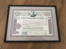 Framed 60s Era Walt Disney Productions Specimen Stock Certificate Disneyland