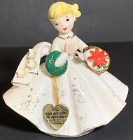 Vtg LEFTON Blonde December Birthday Girl Christmas Figurine W/Heart Hang Tag