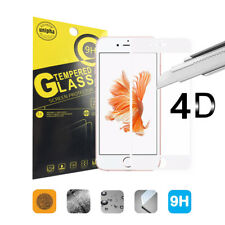 4D FULL COVER iPhone 7 Schutzglas 9H Panzerglas Folie TEMPERED GLAS weiß
