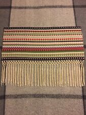 Vintage Swedish Woven Wool Flax Weaving Wallhanging Tapestry Fringe Handicraft