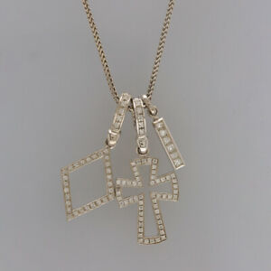 Theo Fennell Diamond Cross and Bar Pendant Necklace 18ct White Gold