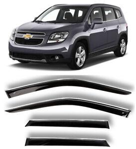 Chrome Trim Window Visors Guard Vent Deflectors For Chevrolet Orlando 2010-2015