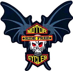 RIDE FREE MOTORCYCLE SKULL BAT WINGS BIKER CLUB VEST HARLEY SEW IRON PATCH AL-33