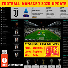 Football Manager 2020 Graphics Update | 32GB USB | Faces Kits Logos Skins + More