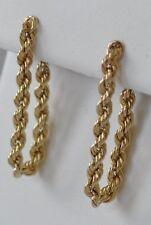 14K Yellow Gold Rope Style Chain Dangler Butterfly Back Post Earrings