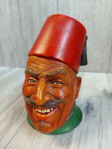 """Vintage Chalk ware Head Bust 6"""" Turkish Hat Fez Red Green"""