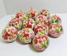 "Lot Of 12 Christmas Beaded Balls Ornaments 3"""