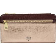 NEW FOSSIL PRESTON METALLIC TAUPE GOLD+BROWN LEATHER,RFID,ZIP,CLUTCH WALLET