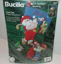 Bucilla Felt Applique Stocking GOLFING SANTA #83383~Open~Stocking Kit Started