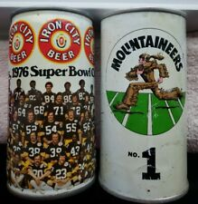 Vintage Iron City Beer Can Banks 1976 Steelers Super Bowl Wvu Mountaineers No 1