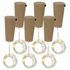 6x Korken Lichterkette für Weinflaschen, Mini-LED-Lichter mit Batterie, warmweiß