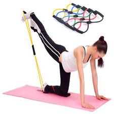 NEW Home Sport Fitness Yoga 8 Shape Pull Rope Tube Equipment Tool Gym Pink XG