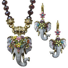 KIRKS FOLLY ELEPHANT WALK 3 PIECE MAGNETIC NECKLACE & EARRINGS SET goldtone