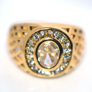 Big Gold Filled Mens Rings Crystal Man Jewelry HipHop Punk Size 10
