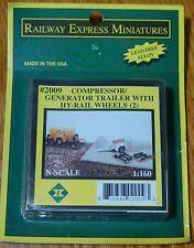 Railway Express Miniatures N #2009 Generator/Compressor Trailerw/Hy-Rail Wheels