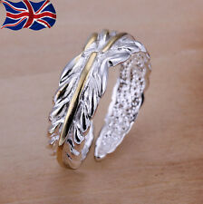 925 Sterling Silver Adjustable Ring Leaf Thumb Finger Rings Band Gift UK
