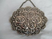 """900 Coin Silver Ottoman Turkish Miniature Dowry Mirror Repousse, 4.5"""" x 3.5"""""""