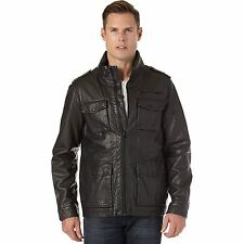 $190 MENS Dockers Leather MILITARY FIELD JACKET  SMALL BLACK COAT