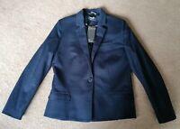 Mango Basics Navy Blue Tailored Blazer Jacket Size 12 New