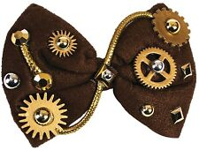Ladies Mens Steampunk Cogs Western Bow Tie Halloween Fancy Dress Costume Outfit