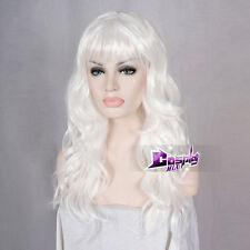 Stylish Cosplay Wig 60CM Curly Perücke Weiß Beauty Königin Style Halloween