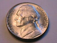1943-S Jefferson 5C Choice BU Lustrous Silver War Nickel USA Five Cent WWII Coin