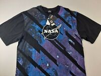 NEW NASA Galaxy Southpole Men 4X Big Black T Shirt Stitched Fuzzy Graphic Casual