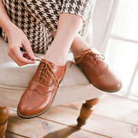 Vintage Women Brogues Lace Up Girls School Oxford Flats Wingtip Low Heel Shoes