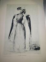 CHARLES COPPIER (Annecy 1866-1948) GRAVURE FEMME IMPRESSIONNISME HAUTE SAVOIE