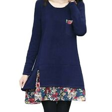 long sleeve dress Blue Boho Loose Japan Tunic One Piece Short Mini Size 10