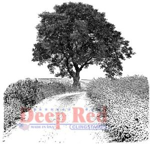 Deep Red Stamps Country Road Rubber Cling Stamp