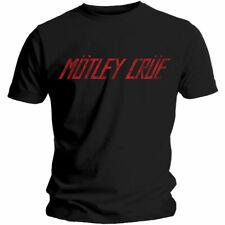 Official Motley Crue T Shirt Distressed Logo Black Classic Rock Metal Band Tee