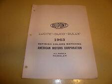 1963 AMC Dupont Lucite Duco DuLux Color Chip Paint Sample