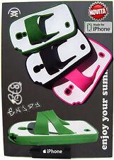 COVER morbida per Apple iPhone 4 Custodia Infradito fuxia giallo verde
