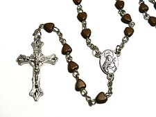Rosary - Plastic heart prayer beads rosary  -  Rosary Crucifix Necklace in brown