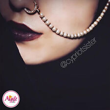 3 x Indian Bollywood Ethnic gold nath Nose Ring Wedding Bridal Traditional