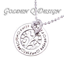 Stainless Steel Personalised Family Name Silver Tree Of Life Necklace D204