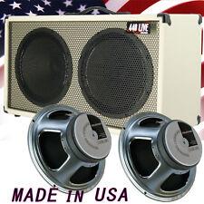 2x12 Guitar Spker Cabinet Ivory white Tolex W/Celestion G12K 100 speakers