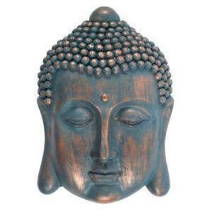 Blue Gold Buddha Sculpture Head Wall Plaque Home Decor ZEN Ornament