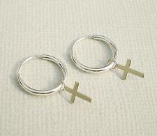925 Sterling Silver Small Plain Drop Dangle Cross Hoop Sleepers Earrings