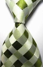 New Classic Checks Green White JACQUARD WOVEN 100% Silk Men's Tie Necktie